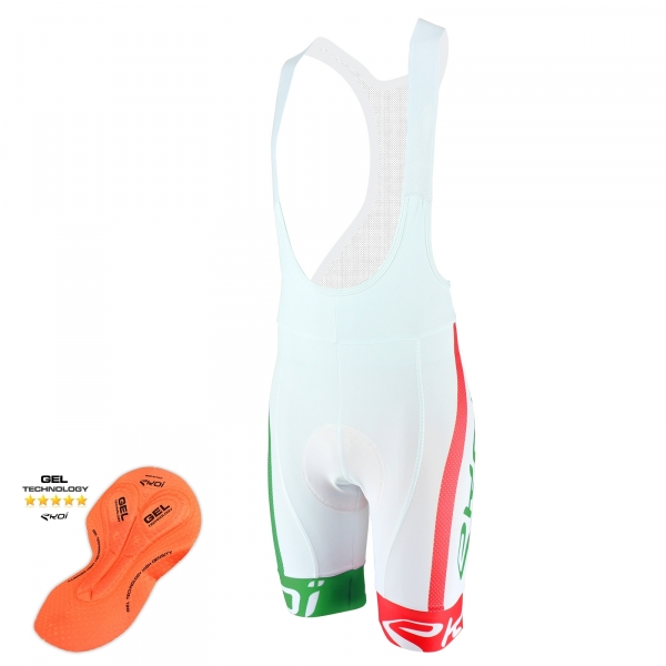 Culotte Bike corto EKOI COMP10 GEL BREATH Blanco Verde Rojo