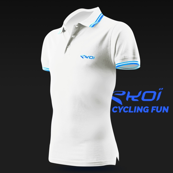 Polo men EKOI Cycling Fun Blanc
