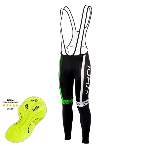 Culotte bike largo invierno EKOI COMP10 Gel Negro Verde