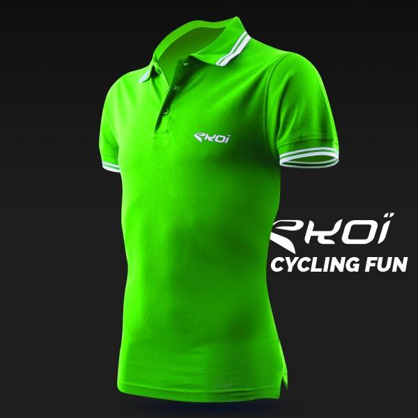 Polo men EKOI Cycling Fun Verde