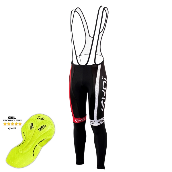Culotte bike largo invierno EKOI COMP10 Gel Negro Rojo
